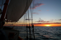 Nofy Be - traditional gaffed rig schooner - shrouds and sunset