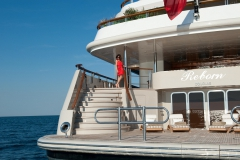 Reborn - motor yacht refit - aft stairs